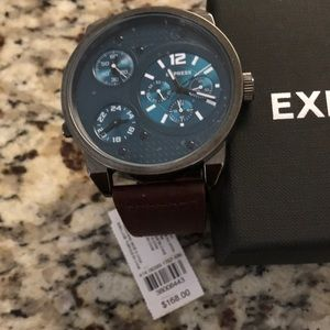 BROWN LEATHER STRAP OVERSIZED MULTI-FUNCTION WATCH